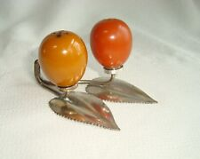 Rare 2 Color Fruit Shape Bakelite Salt & Pepper Shakers on Silver Holder