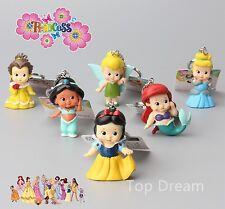 6X Princess BeΙΙe CindereΙΙa Snow White Jasmine Ariel Figures Doll Key Ring