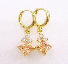 Diamond 14K Yellow Gold Plated Womens Dangle Earrings Champagne Purple Simulated
