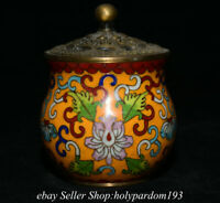 "3.8"" Collect Marked Old Chinese Bronze Enamel Cloisonne Flower Lid Jar Pot"