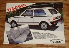 Original 1988 Yugo GVS Postcard Brochure 88