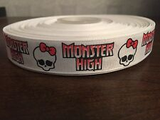 "1m White Monster High Skull Bow 22mm 7/8"" Grosgrain Ribbon"