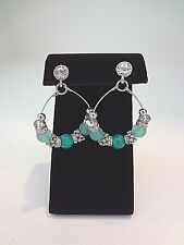 WHITE HOUSE BLACK MARKET Mint Bead Post Drop Hoop Earrings - Silvertone - NWT