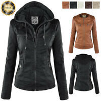 Womens Winter Slim Hooded Parka Coat Overcoat Jacket Trench Warm Leather Outwear