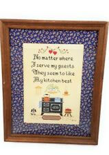 Needlepoint Embroidered Wall Hanging FRAMED kitchen art food table dishes