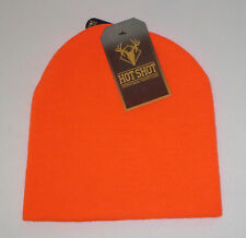 Blaze Orange Beanie Hat Mens 2 Ply Hot Shot Hunting 100% Acrylic New Bright