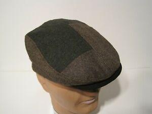 STETSON wool blend PATCHWORK driving Cap Hat LARGE / XL New