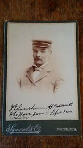1880'S CABINET CARD NAMED SAILOR SAVED 18 LIVES FROM DROWNING SYMOND PORTSMOUTH