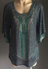 Stunning Boho Chic REBA Blue Green Gold Silver Embellished Knit Top Size M12/14