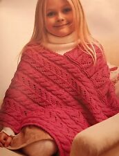 Ck14 - Knitting Pattern - Pretty Little Girl's Cable & Lace Poncho / Shawl / Top