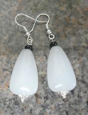 Dangle earrings - 25mm white glass drop 50mm total length