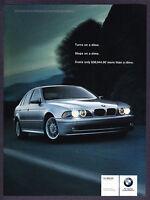 "2001 BMW 525i Sedan photo ""Turns & Stops on a Dime"" promo print ad"