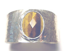Beautiful SILVER PLATED Modernist GENUINE TIGER EYE Hammered Cuff BRACELET