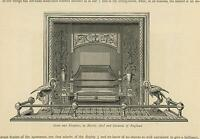 ANTIQUE HERON BIRD FIREPLACE GRATE ANDIRONS ORNATE ORNAMENTATION OLD ART PRINT