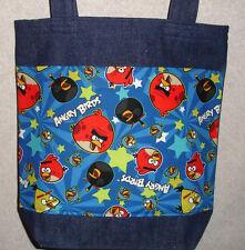 NEW Medium Denim Tote Bag Handmade/w Angry Birds Fabric