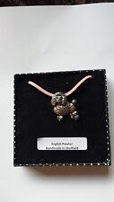 D3 Poodle Motif Pewter  PENDENT ON A PINK CORD Necklace Handmade