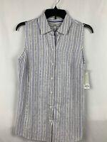 Croft And Barrow Women's Sleeveless Button Down Stripe Blouse Size XS NWT