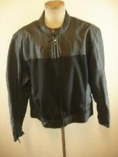 Mens 2XL  3XL 52 River Road Black Leather Mesh Motorcycle Jacket Cafe Racer Zip