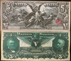 Reproduction $5 Bill Educational Note 1896 Grant & Sheridan Silver Certificate