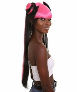 Women's Pinned Up Double Bun China Doll Rapper Wig - Pink and Black HW-6712