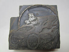 Antique Etched Printer Block - Man w/Goggles Driving a Car PB#20