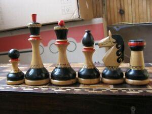 Old vintage soviet USSR wooden chess set #2