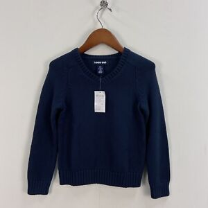 LANDS END Boys 4 Pullover V-Neck Long Sleeve Sweater Top Blue S SMALL 4 R24