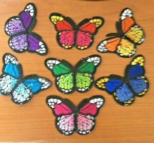 5 Embroidered sew/iron butterfly Motifs Crafts, Applique, Patch Garment making