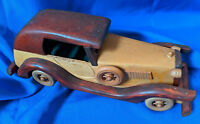"Custom Handmade Wooden Model Antique Car VTG Carved 12"" HO Toy Rare Light Dark 2"