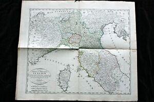 Große antike histor. Landkarte,OBER- UND MITTEL- ITALIEN, F. Goetze Weimar, 1804