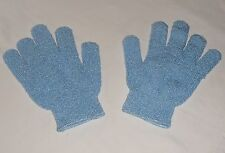 1 PAIR of Body Exfoliating Bath Shower wash Glove Mitt Gentle Loofah BLUE
