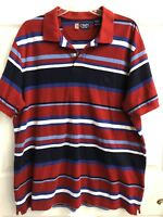 Chaps XL Polo Shirt Short Sleeve Red White Blue
