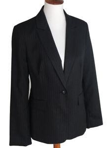 Calvin Klein Womens Black Pinstripe Tailored Blazer Jacket 1 Button Lined Size 8