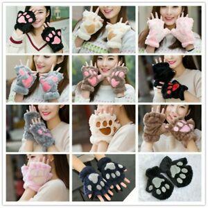 Women Fleece Glove Girl Mitten Half Finger Gloves Mitts Cute Bear's Paw Warm