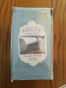 DIAMOND MATELASSE COLLECTION QUEEN TAILORED BEDSKIRT IN BLUE FROM BBB BRAND NEW