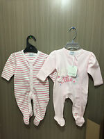 BNWT Baby Girls Sz 00 Designer Babaluno Baby Pack Of Two Long Pink Romper Suits