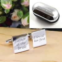 Silver Square Father of the Bride I loved Her First Engraved Wedding Cufflinks