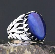 Solid 925 Sterling Silver Blue Tiger's Eye Stone Ivy Style Men's Ring