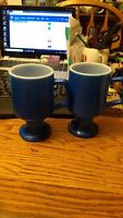 2 anchor Hocking vintage royal blue pedestal coffee mugs