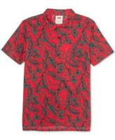Levi's Collared Short Sleeve Vine Print Polo Shirt (Red, XL)
