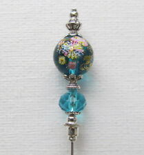 "TURQUOISE BLUE FLOWER Vintage Antique Tibetan Style Silver Hat Pin 6"" Jellybean"