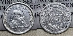 1858 O Seated Liberty Half Dime 5c Great Details Cleaned