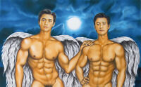 Print Of Male Oil Painting - Angel Twins - Pin Up Art Men Figures Artist Andreev