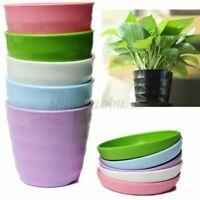 Round Flower Pot Colorful Plastic Planter Nursery + Tray Home Garden 50g US