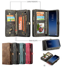 Genuine Leather Card Wallet Case Magnetic Removable Cover For Samsung S9 S9Plus