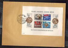 1954 Berlin DDR East Germany Karl Marx Souvenir Sheet Cover # 146a Perf