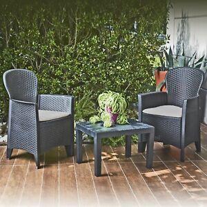 3Pc Cushioned Black Rattan Outdoor Garden Furniture Table Chair Conversation Set