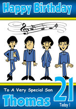 THE BEATLES FUN PERSONALISED BIRTHDAY CARD, A5 SIZE,  ANY NAME, AGE, RELATIVE!!