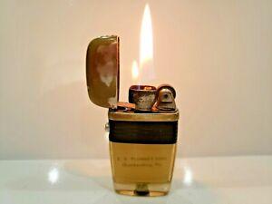 """Vintage Working Scripto VU Lighter """"E. D. PLUMMER SONS"""" Black Band    1055.29"""