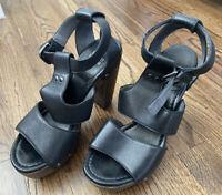 Stuart Weitzman Black Gladiator Sandals, Women's Size 8, Platform Block Heel